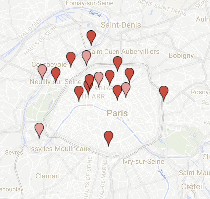 A map of Morning Coworking's locations
