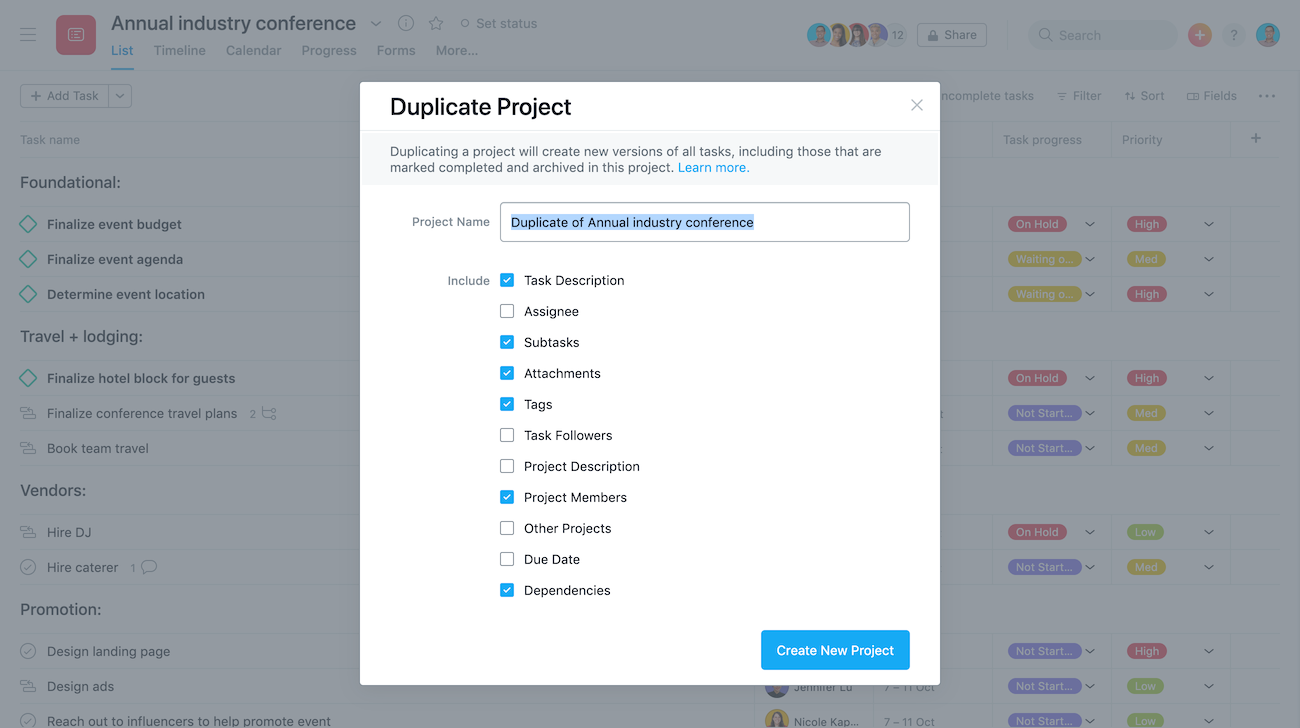 duplicate project dialog