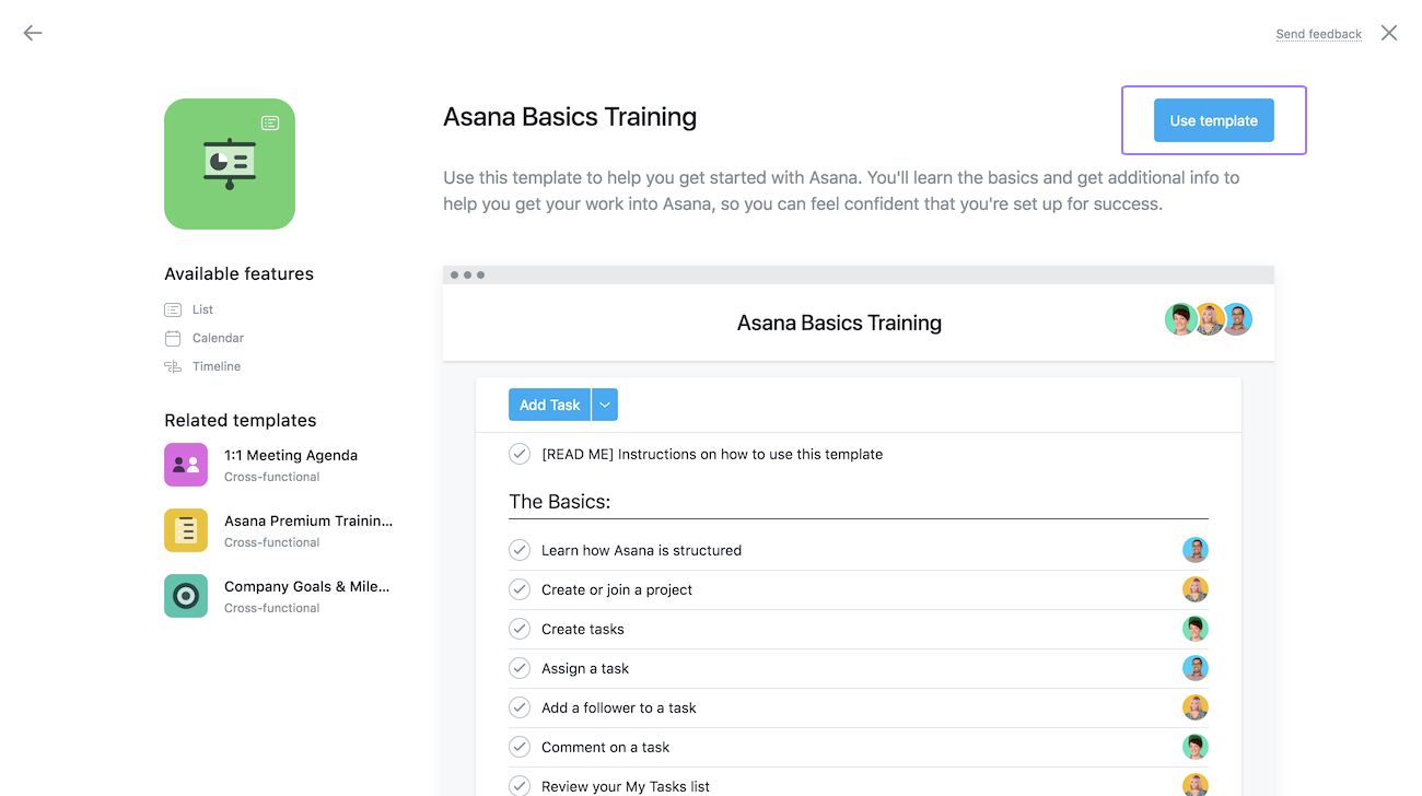 Preview an Asana template