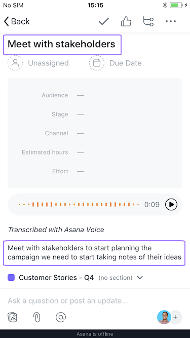 Screenshot with focus on options available before creating the tasks via voice recognition
