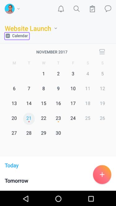 calendário do projeto