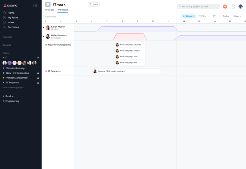 SCREENSHOT of using Workload to see teammate who's overloaded and reassigning their work