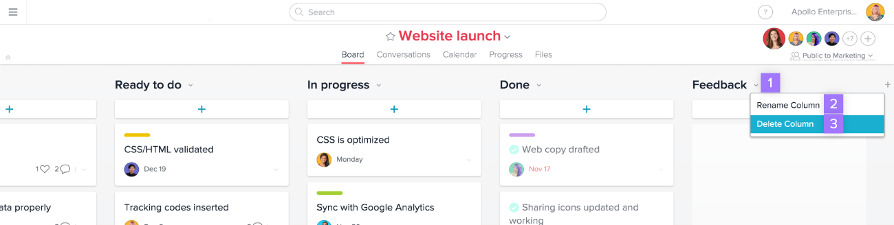 Manage columns in Asana boards project