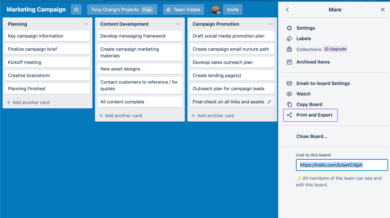 screen to export table from Trello
