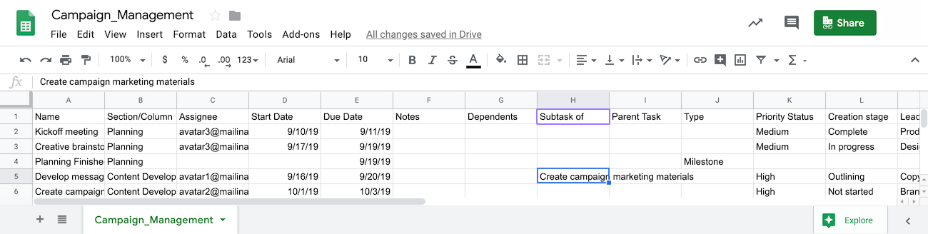 screen of spreadsheet with references for mapping subtasks