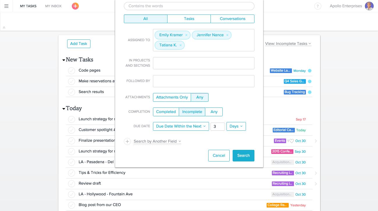 Erstellung eines Berichts mit erweiterter Suche