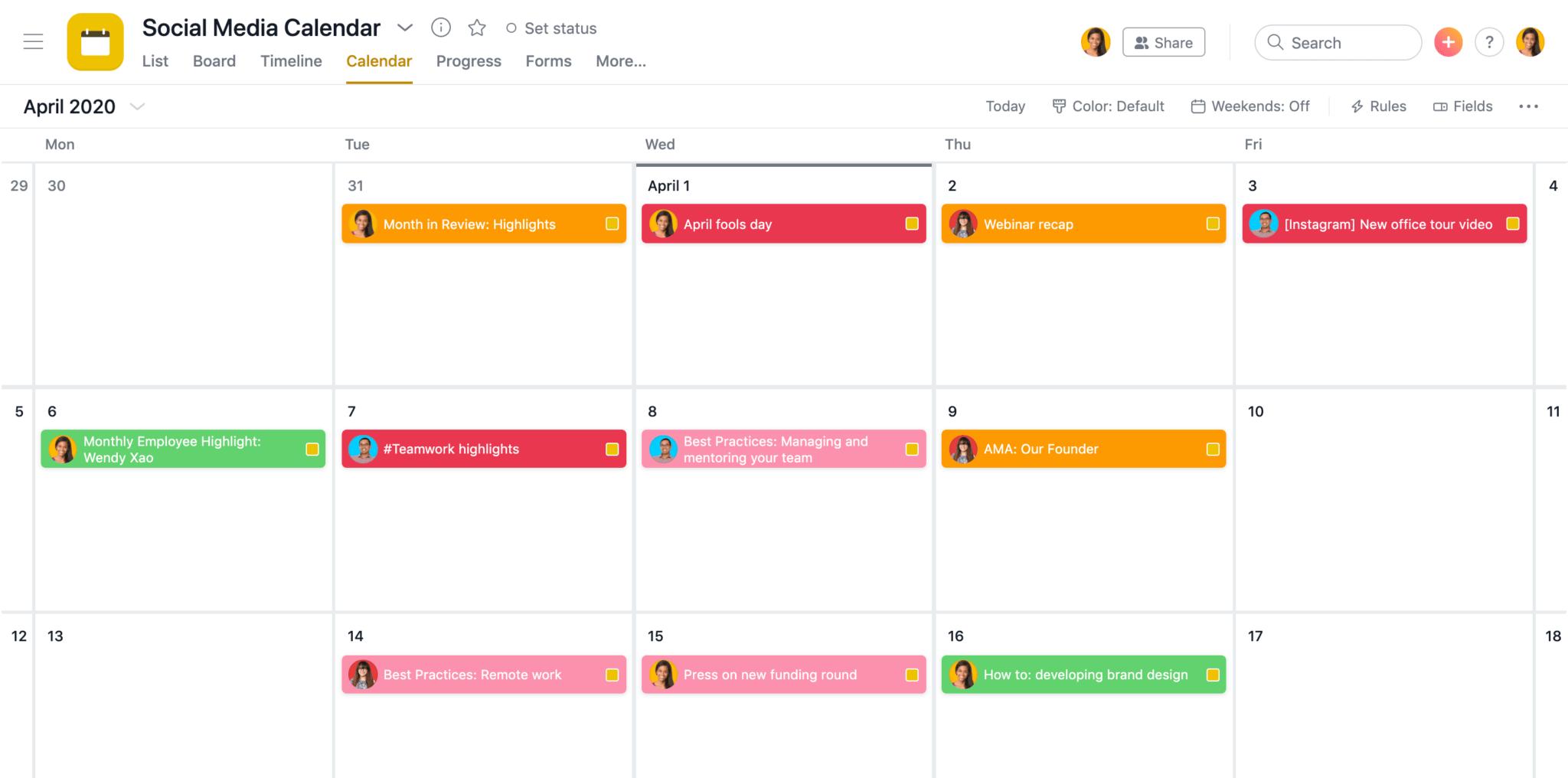 Calendrier de projet d'événement