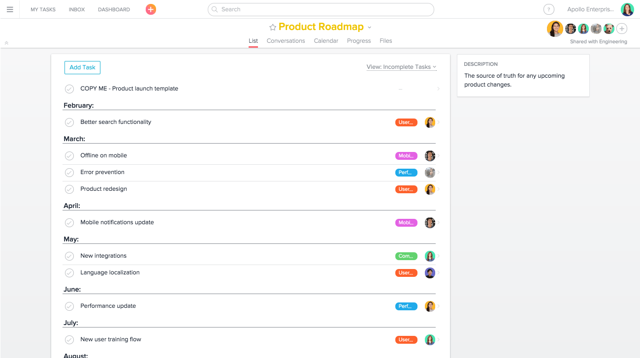 build product roadmaps in asana