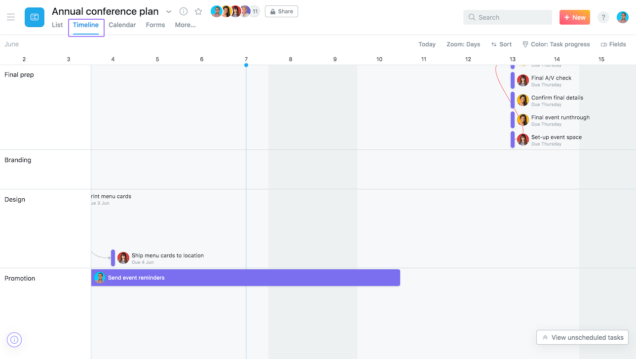 Use timeline to help you schedule a project before you begin