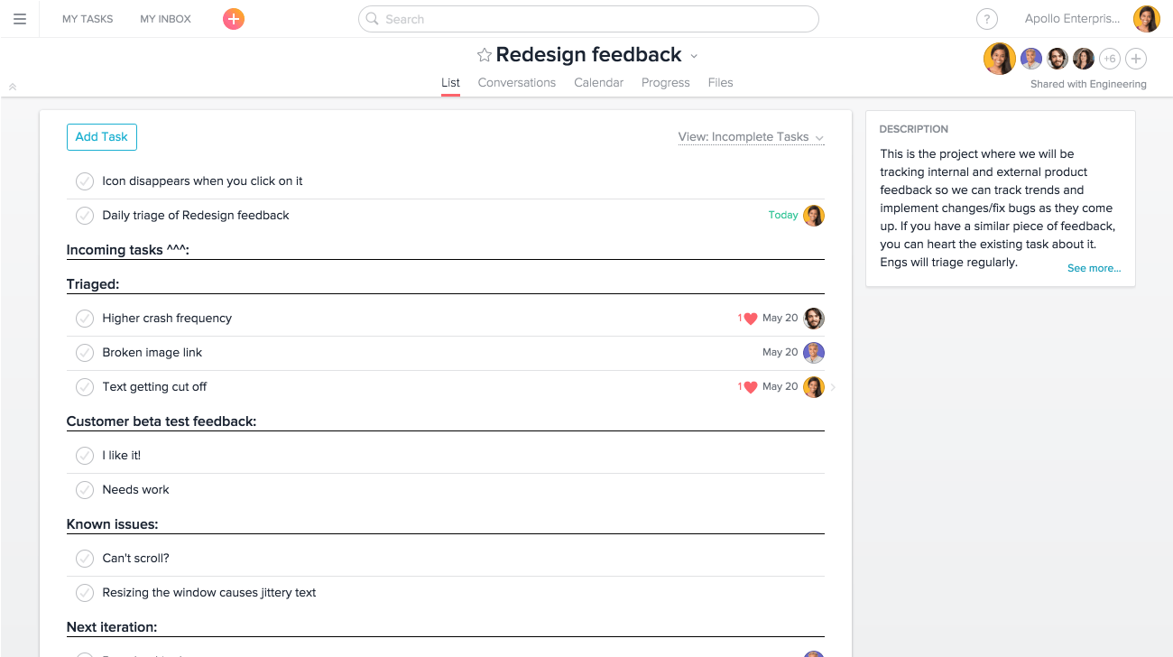Redesign feedback project in Asana