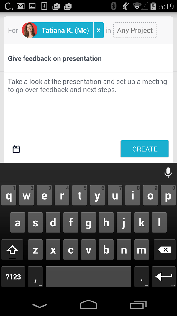 Create Asana tasks on Android