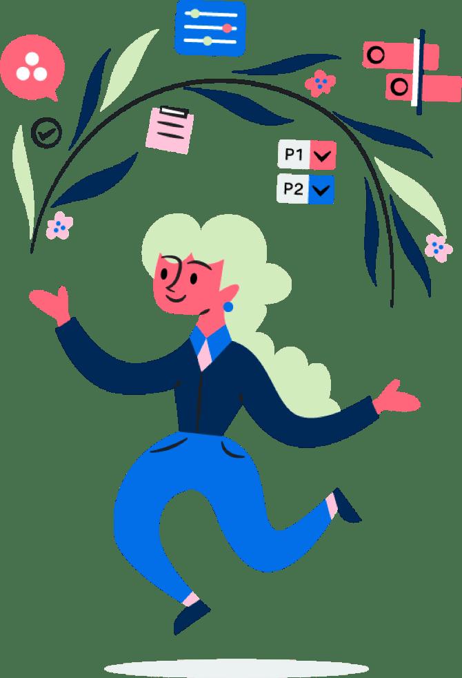 Pessoa com ícones de produtividade