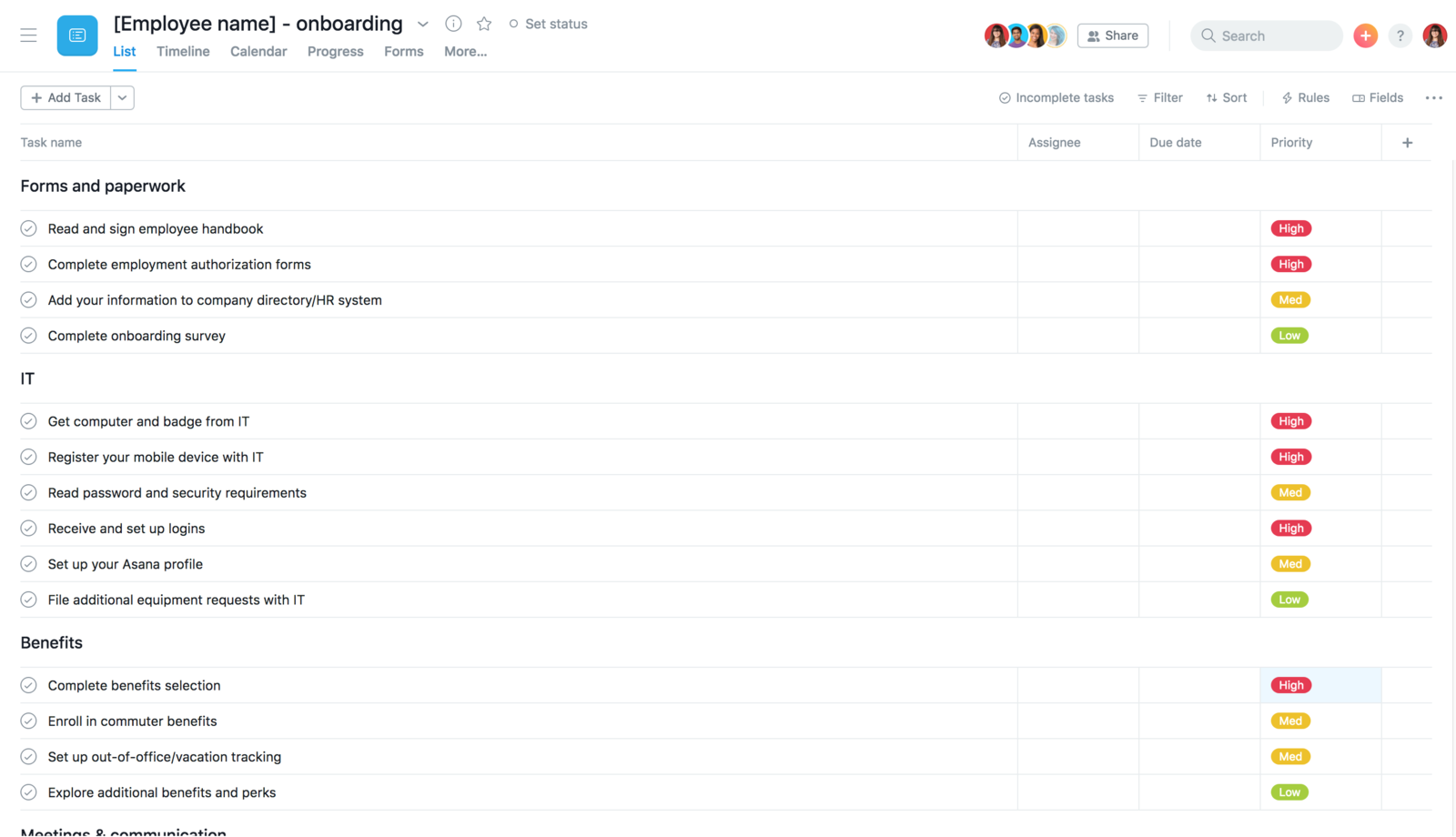 HR Onboarding Template project in Asana