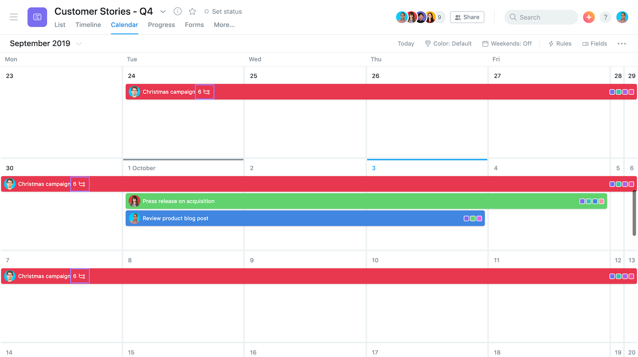 screenshot focusing on subtask count on calendar