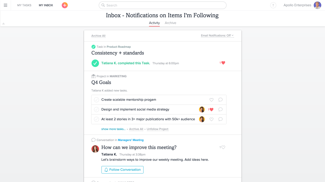 """Meine Inbox"" in Asana"