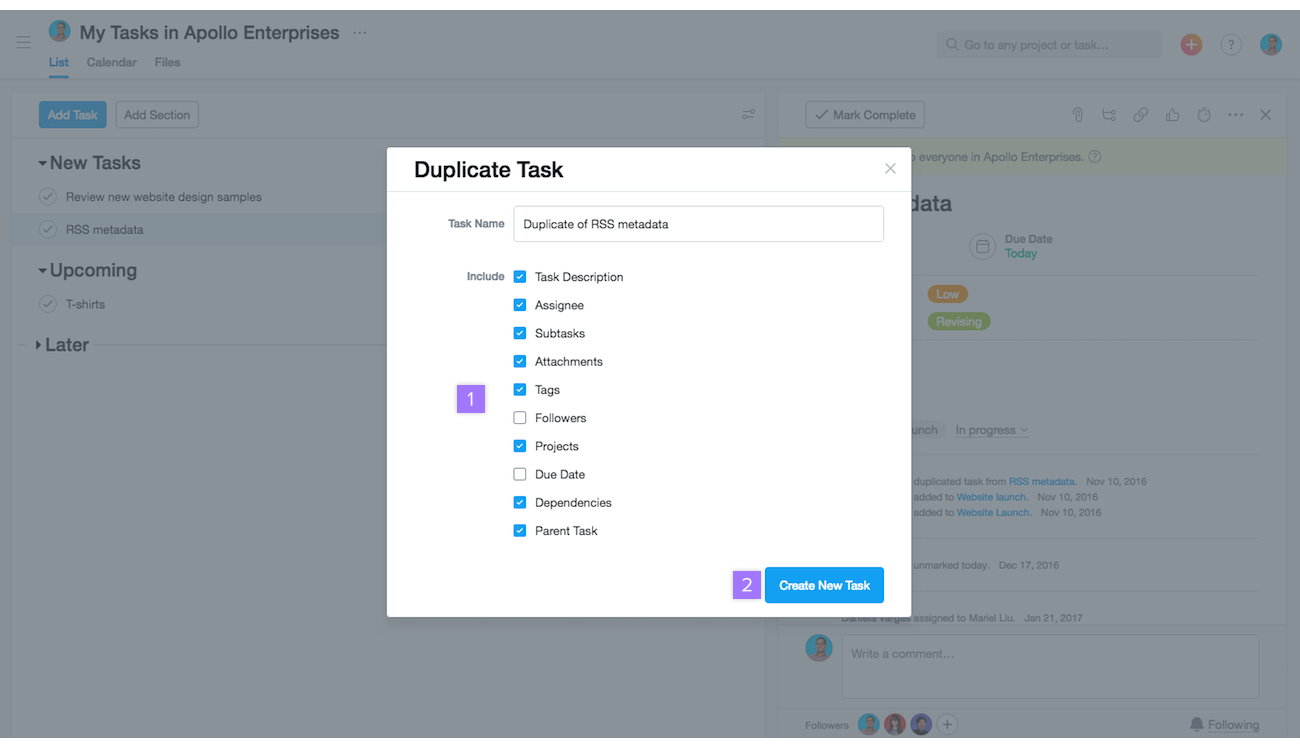 task actions create move duplicate and more product guide asana