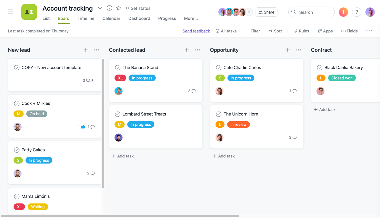 SCREENSHOT of Asana pipeline project in Boards view with columns for account opportunity progress