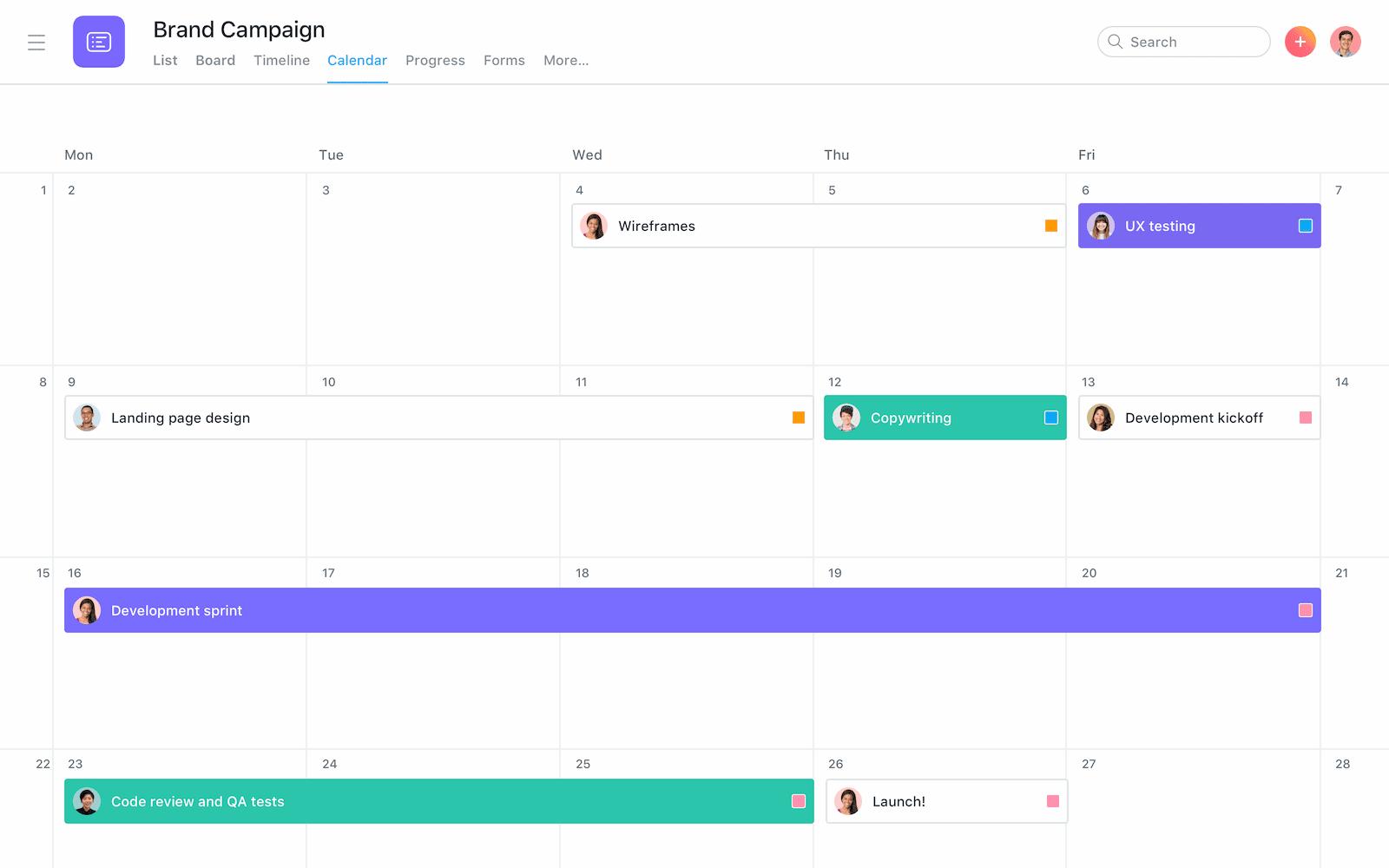 Kalenderansicht bei Asana