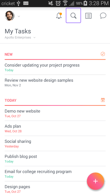 How to search in the Asana Android app   Product guide · Asana
