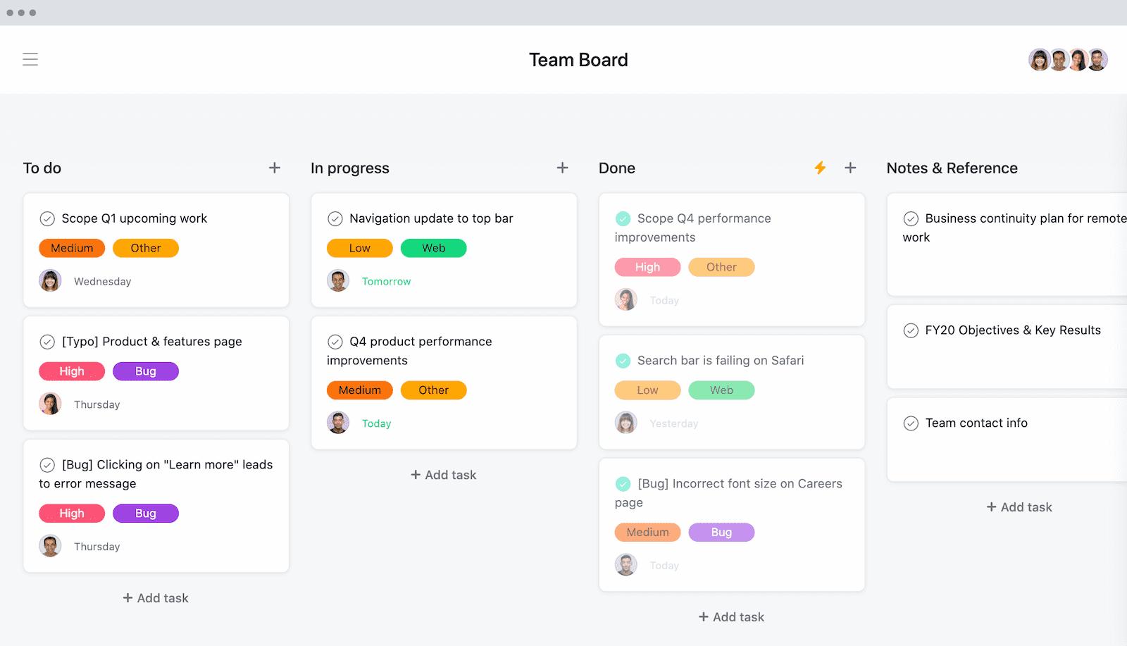 Team Kanban Board for Scrum