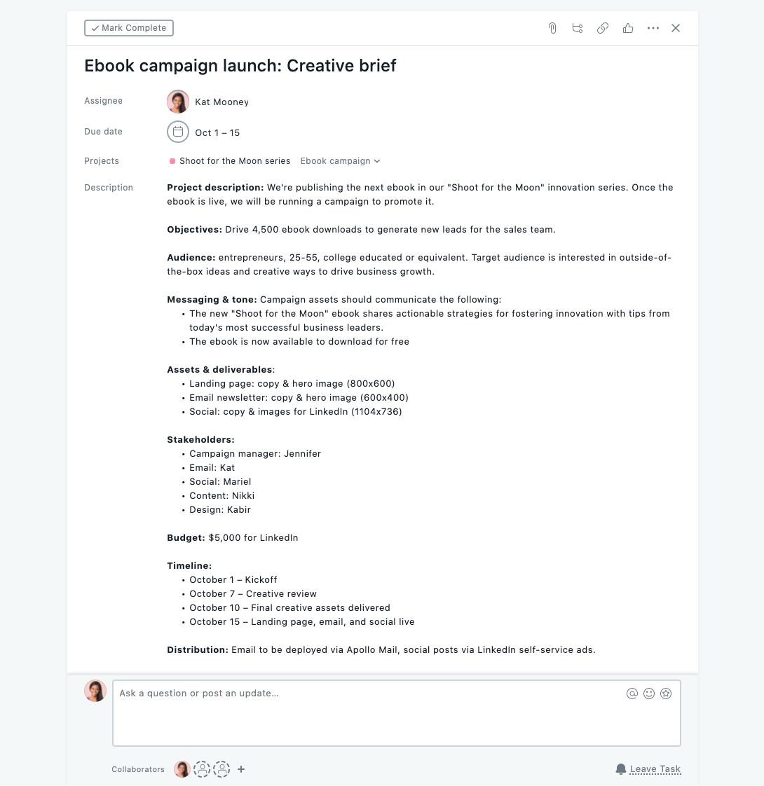Kreativ-Briefing - Beispiel