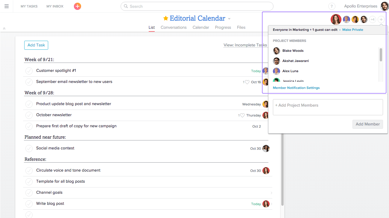 Make projects private in Asana
