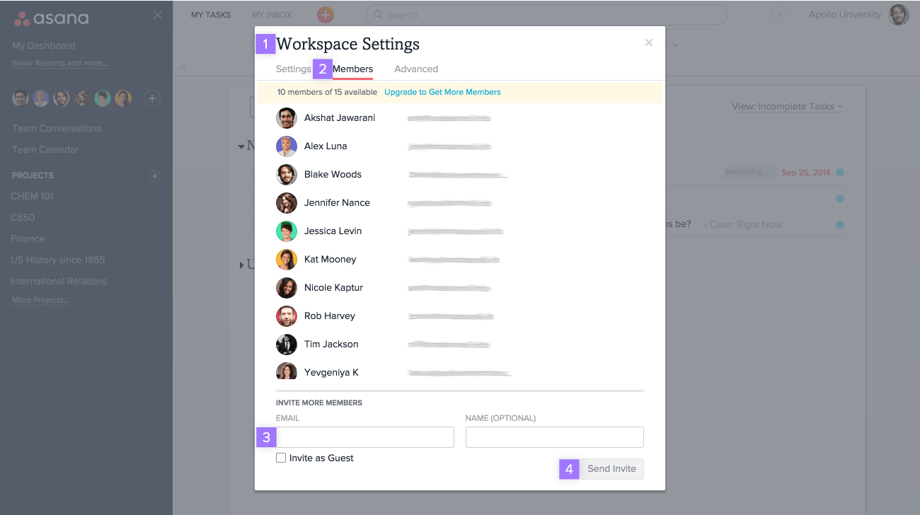 invite from workspace settings