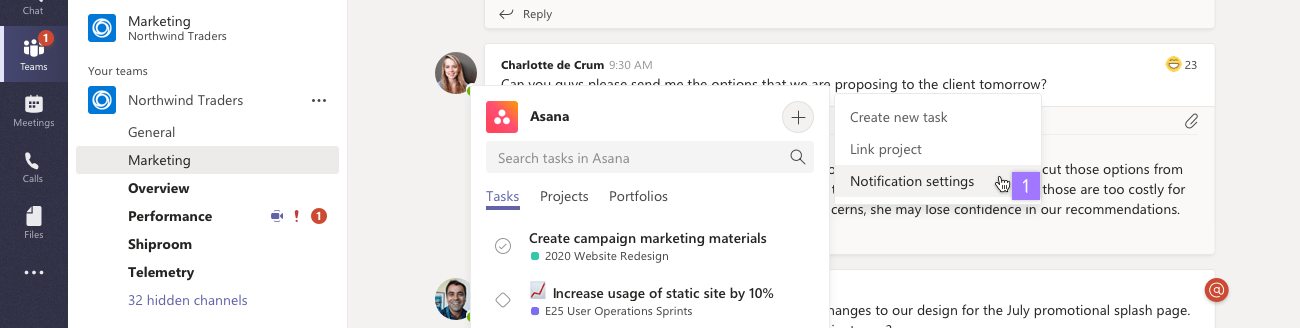Notificações do Microsoft Teams