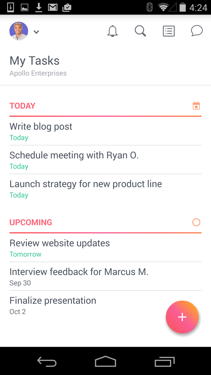 Review your Asana tasks on Android