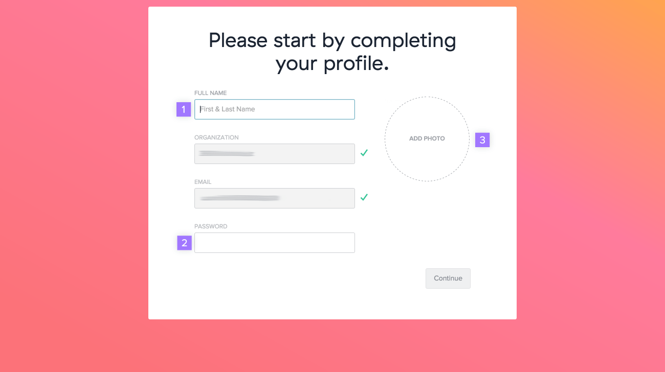 Create an account through an invitation