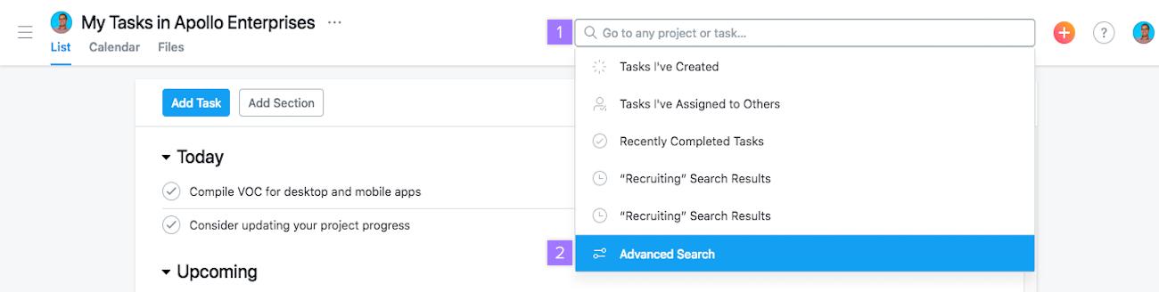 Button für die erweiterte Suche