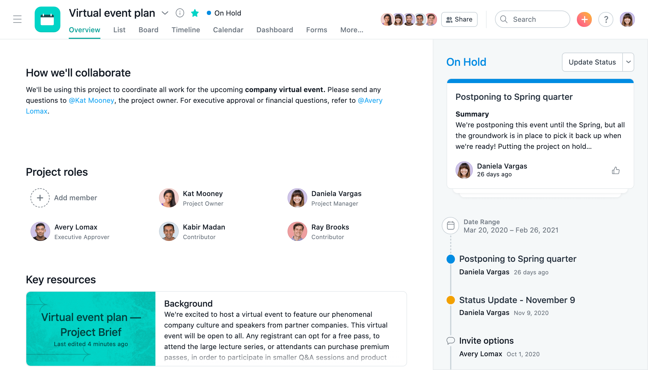 SCREENSHOT of a project status update in Asana with activity feed showing task updates