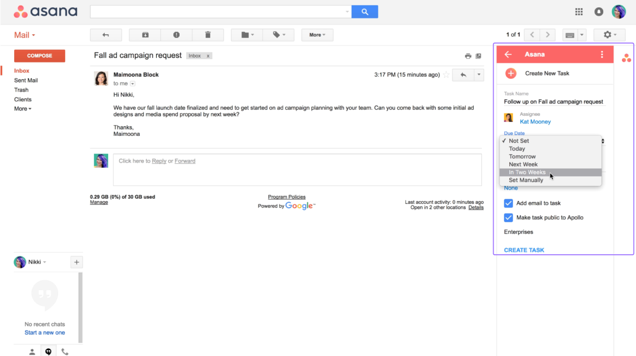 SCREENSHOT of Gmail and Asana integration to manage tasks from your inbox