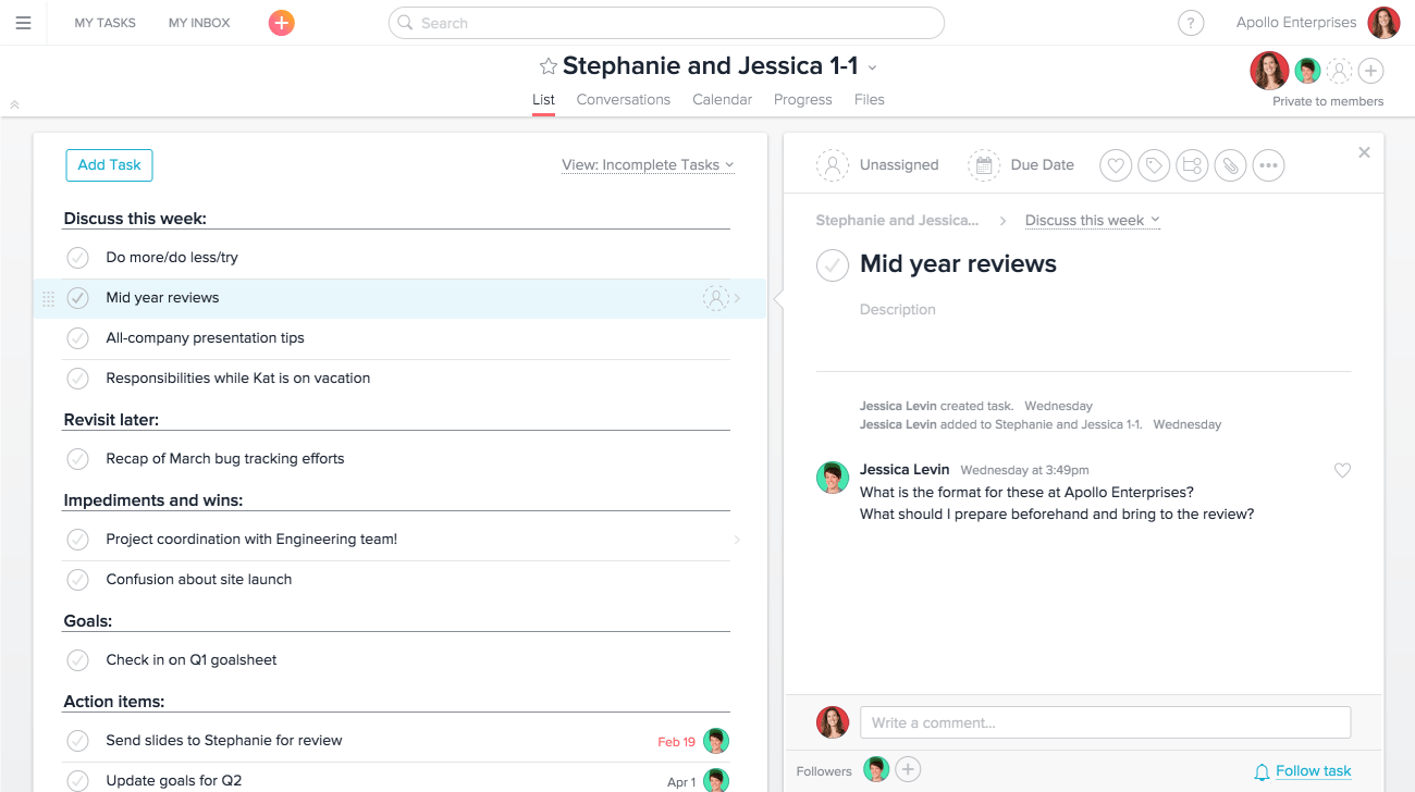 using asana for executive 1 1 meetings product guide asana