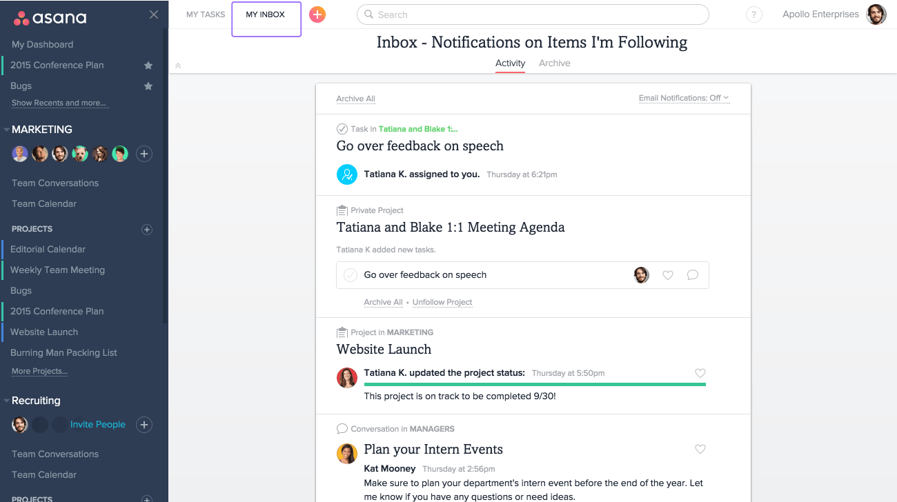 Click on Inbox to see your notifications in Asana