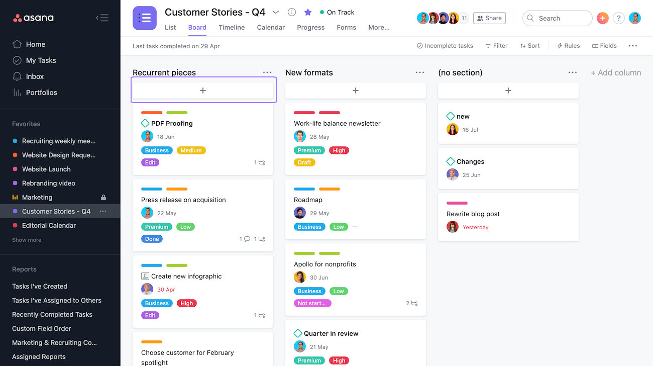 Add tasks to a boards project in Asana