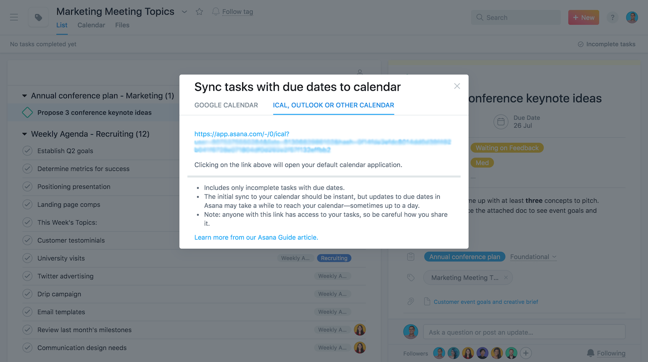 Sync Asana + Google Calendar, Outlook, Apple | Product guide