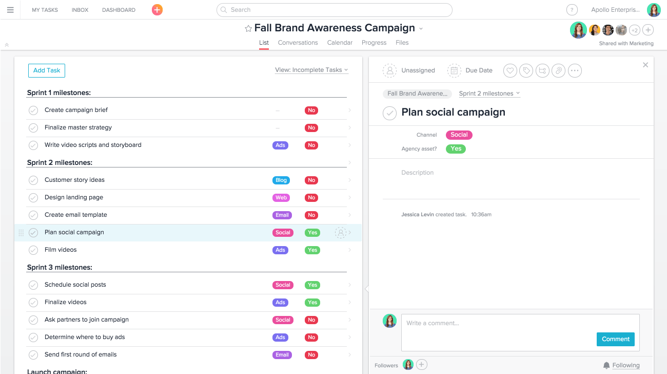 Gestiona eficazmente campañas de marketing en Asana