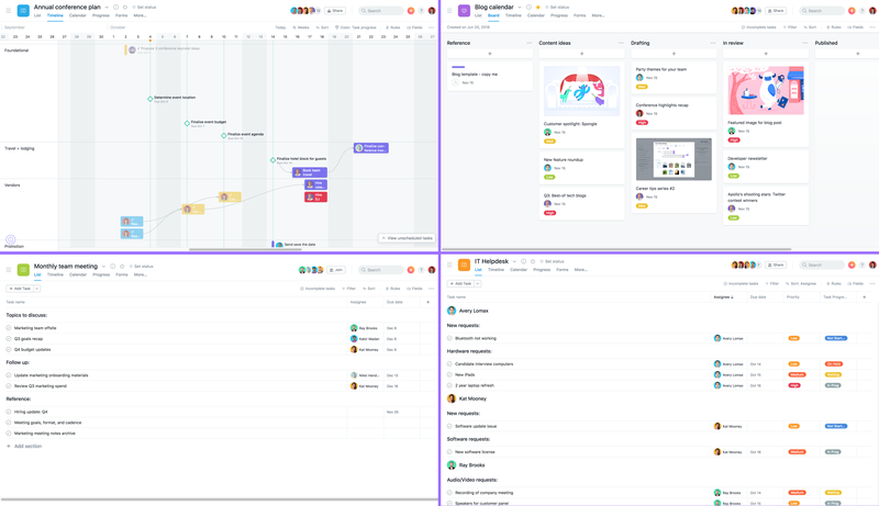 SCREENSHOT of various project views in Asana including Timeline, boards, and list view with priorities, deadlines, attachemnts, and more