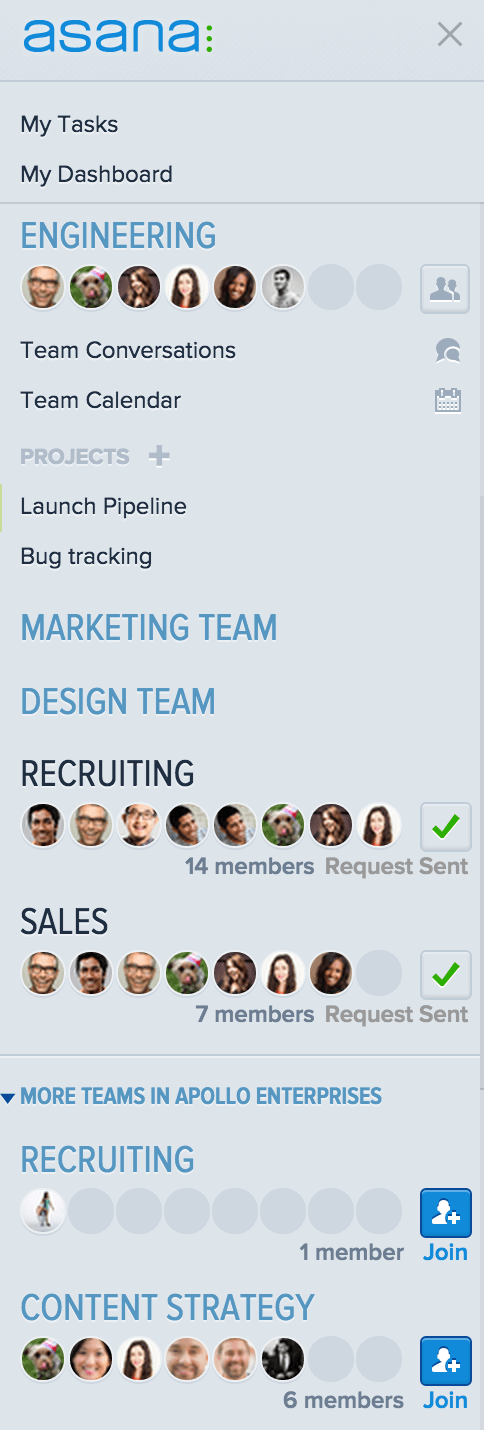 how to create a team in asana