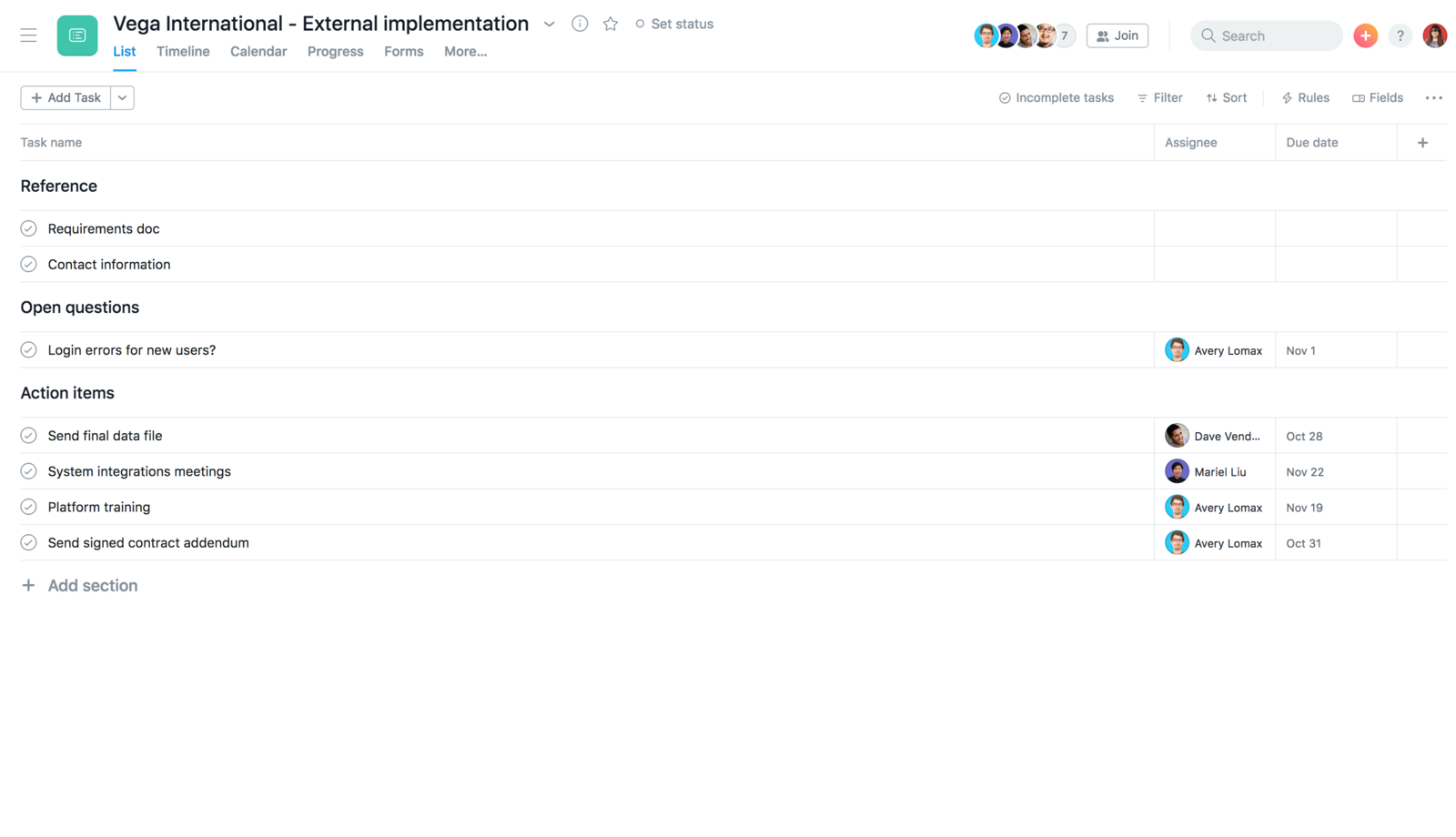 Create an external implementation template in Asana to duplicate