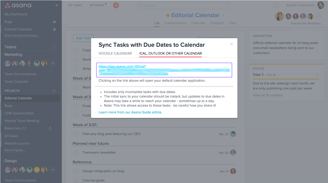Sync Asana Google Calendar Outlook Apple Product Guide Asana