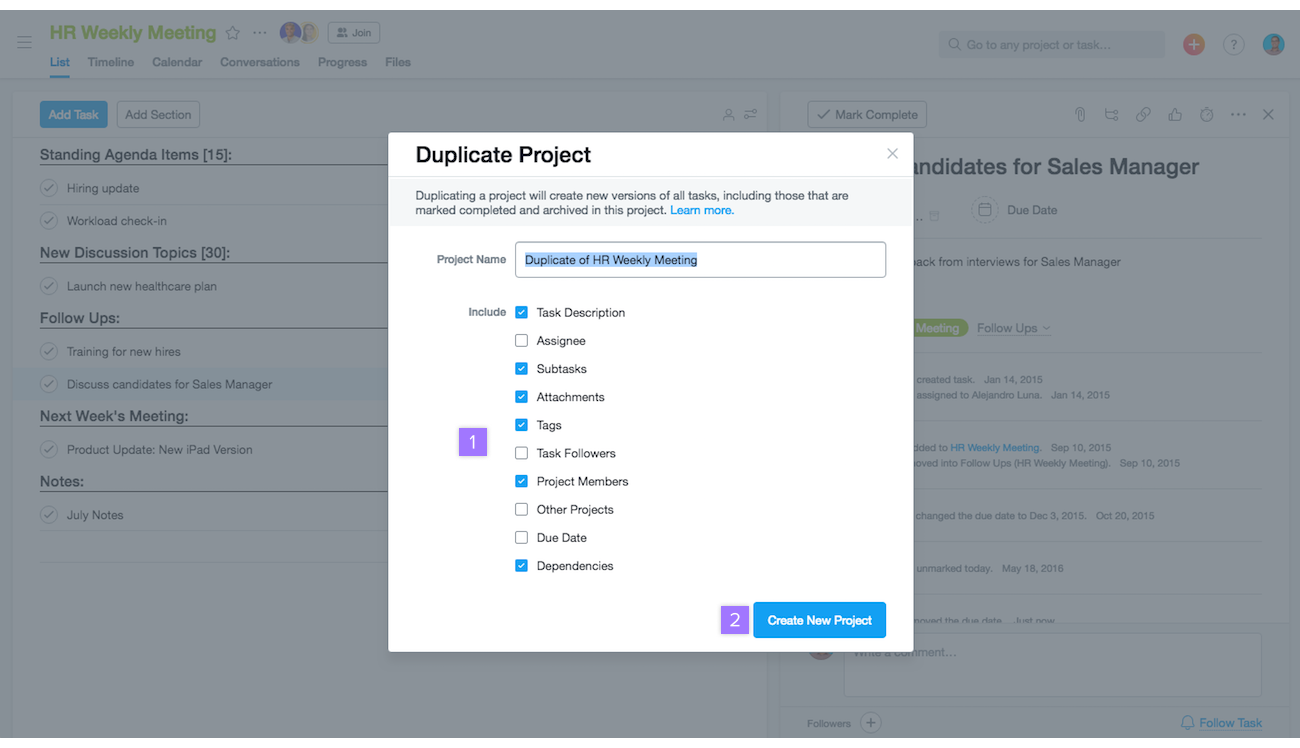 Project Actions Move Duplicate Delete And More Product Guide