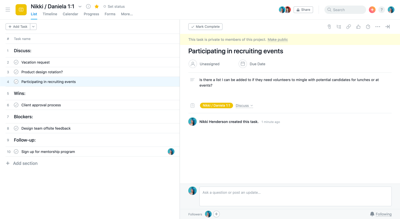 SCREENSHOT of a task created by teammate for a manager in a one-on-one project in Asana