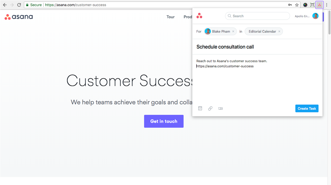 Using the Asana Chrome extension | Product guide · Asana