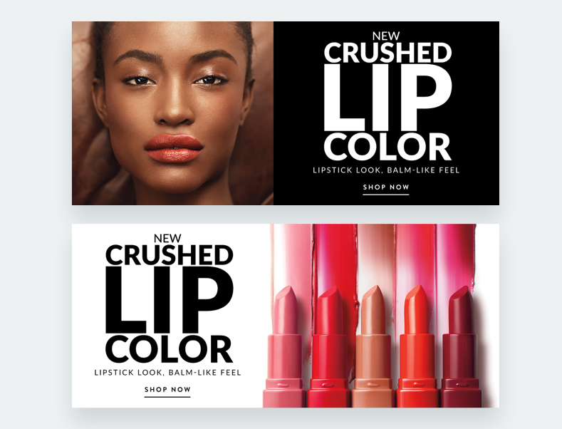Recursos creativos para el lanzamiento del Crushed Lip Color.