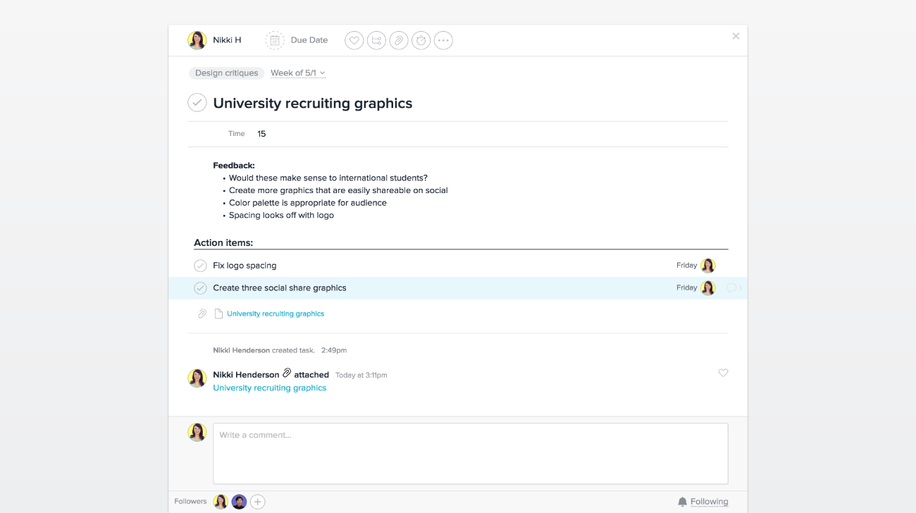 Use custom fields in Asana to show time needed to present during a design critique meeting