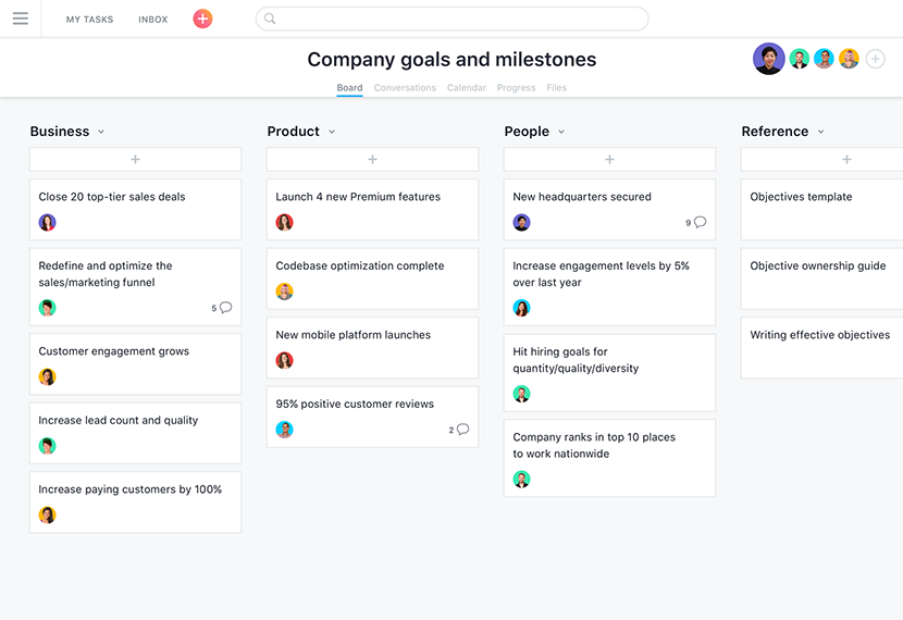 screenshot of company objectives Asana boards