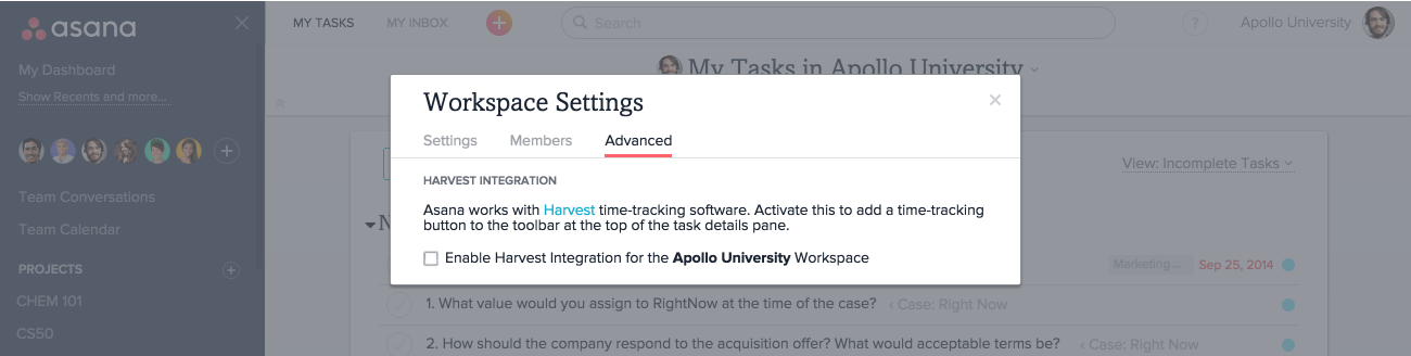 workspace settings advanced tab