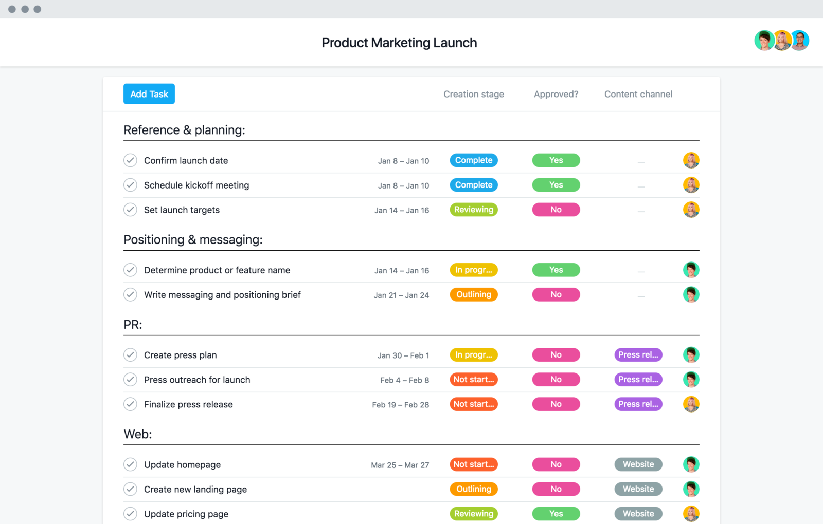 Product marketing launch template